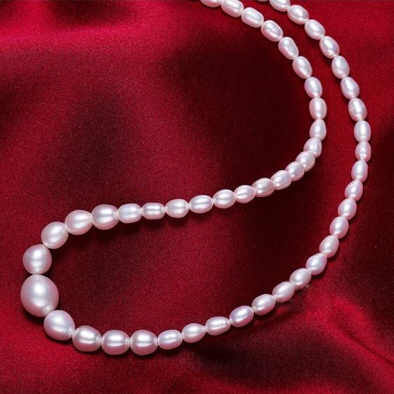 Vòng cổ Ngọc trai Thiên nhiên Cao cấp - Chuỗi đơn xoài mọng - NinePearl (5-9ly) - CTJ6308 + Tặng bông tai nụ bạc