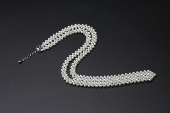 Vòng cổ Ngọc trai Thiên nhiên Cao cấp - Kết kiểu ánh trăng - MirrorPearl (5ly) - CTJ6508 + Tặng bông tai nụ bạc