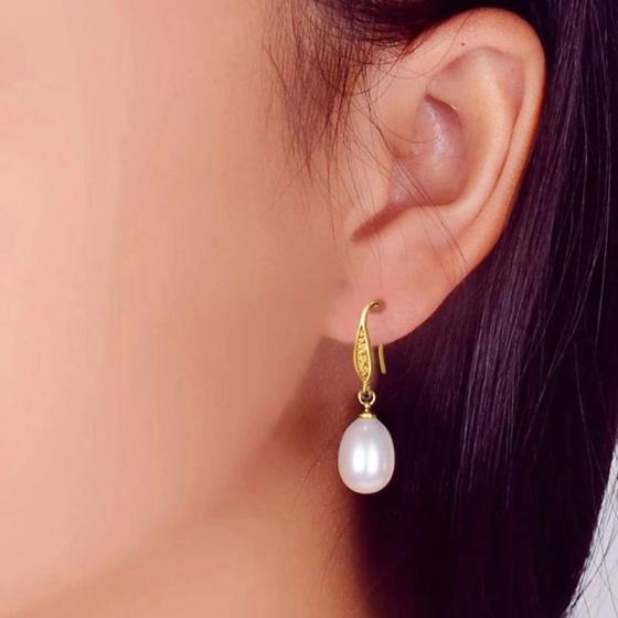Bông tai Ngọc trai Cao cấp - Móc câu Sang trọng -CuticlePearl (9ly) - CTJ1003