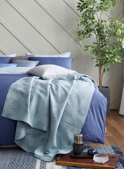 Chăn hè Sa Maison mã Summer Leaf, màu xanh, kích thước 150x190cm
