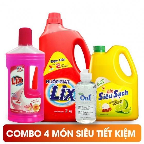 Nước giặt Lix 2Kg, nước rửa chén Lix 1.5Kg, nước lau sàn Lix hương lyli 1 lít, Gel rửa tay khô On1 250ml