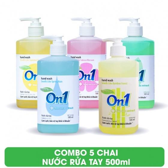 Combo 5 chai nước rửa tay sạch khuẩn On1 500ml (Fresh Sakura, Lotus Rice, Chanh YUZU, White Tea, BamBoo Charcoal)