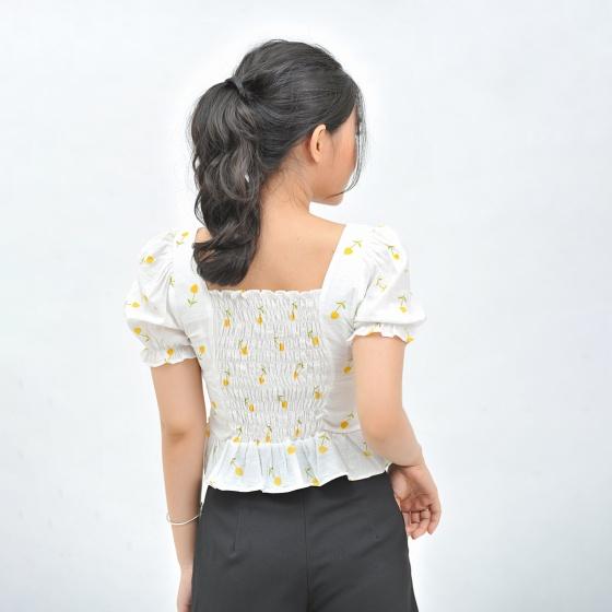 Áo kiểu nữ croptop thời trang Eden dây rút - ASM116