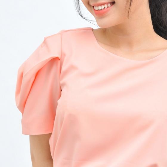 Áo kiểu nữ công sở thời trang Eden cổ tròn tay phồng cách điệu - ASM108