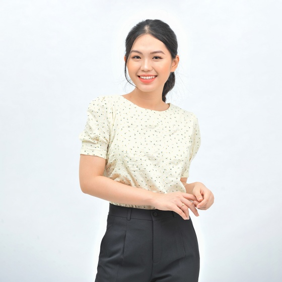 Áo kiểu nữ công sở thời trang Eden cổ tròn phối nút hông - ASM115
