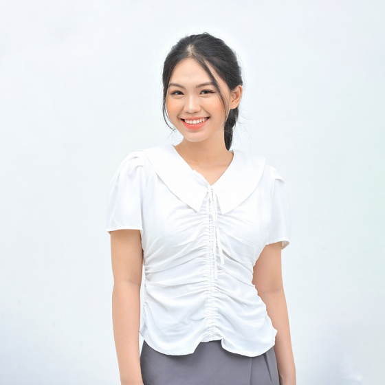 Áo kiểu nữ thời trang Eden cổ sen dây rút - ASM109