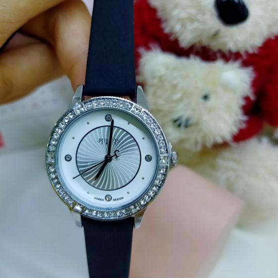 Đồng hồ nữ Julius JA-826A dây da viền đính đá đẹp mê li (Đen)