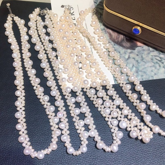 Vòng cổ Ngọc trai Thiên nhiên Cao cấp - Kết viền hoa sao - PilulePearl (3-8ly) - CTJ9805 + Hộp đựng sang trọng