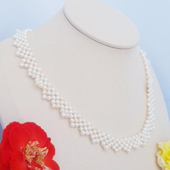 Vòng cổ Ngọc trai Thiên nhiên Cao cấp - Chuỗi kết hàng ren - LacePearl (4-5ly) - CTJ1105 + Tặng bông tai nụ bạc