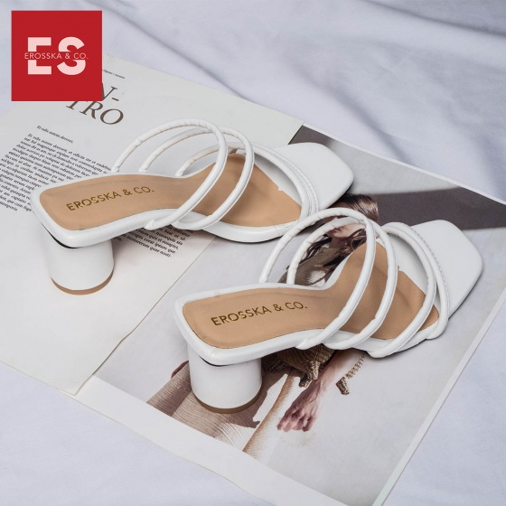 Dép cao gót Erosska thời trang mũi vuông phối dây quai mảnh cao 5cm EM038 (WH)