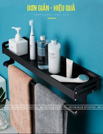 Combo 2 kệ nhà tắm dán tường nhôm sơn tĩnh điện cao cấp