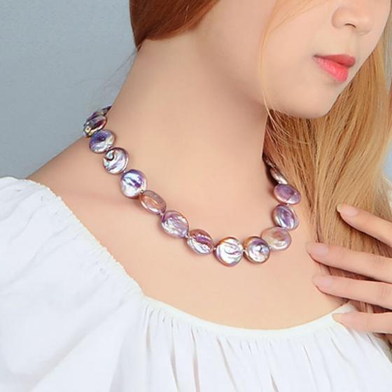 Vòng cổ Ngọc trai Baroque Cao cấp - Chuỗi đơn đồng xu - CoinPearl (14-15ly) - CTJ4708 + Kèm hộp đựng sang trọng