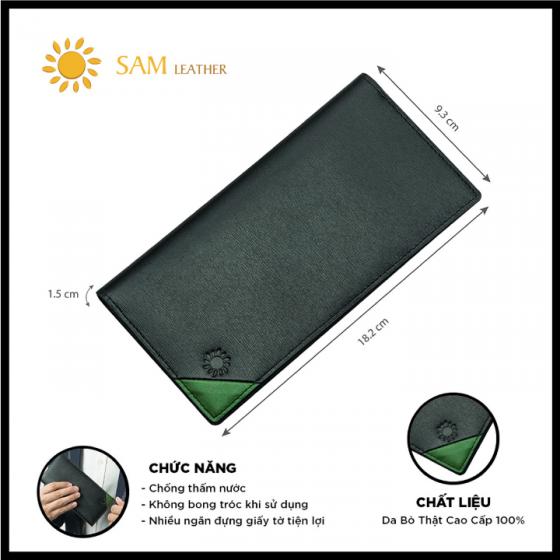 Ví nam da bò Sam Leather SAM201 - ví da nam hàng chính hãng bảo hành 1 năm