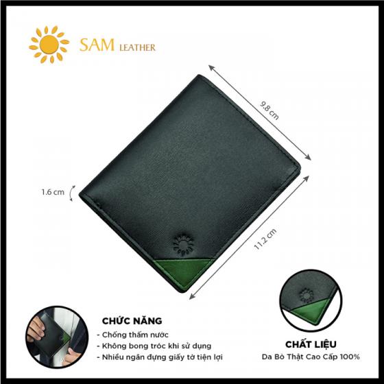 Ví nam da bò Sam Leather SAM017 - ví da nam hàng chính hãng bảo hành 1 năm