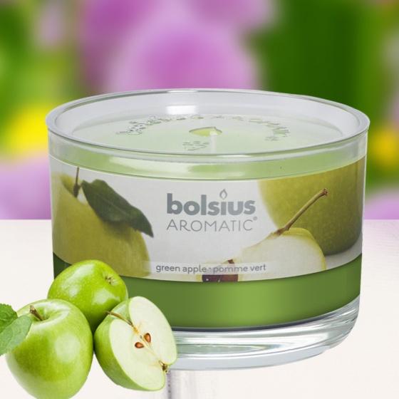 Ly nến thơm tinh dầu Bolsius Green Apple 155g QT024882 - hương táo xanh