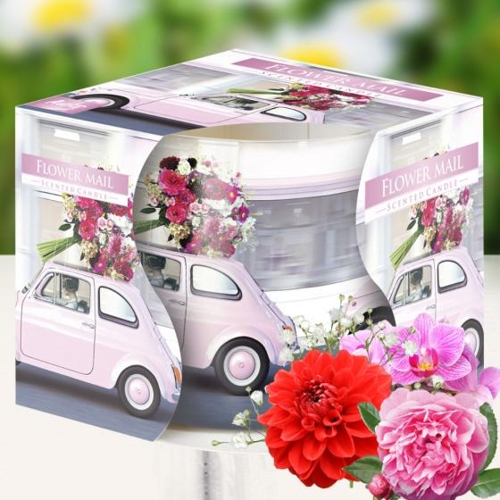 Ly nến thơm tinh dầu Bispol Flower Mail 100g QT04320 - lan, hồng, thược dược