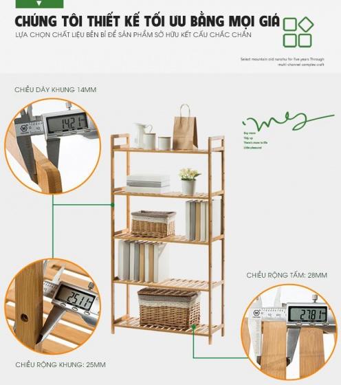 Kệ sách đa năng kiểu hàn 5 tầng gỗ tre cao cấp