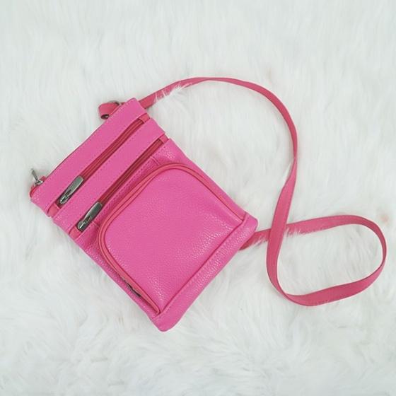 Túi nữ đeo chéo da bò Trip SB68 size S màu hồng