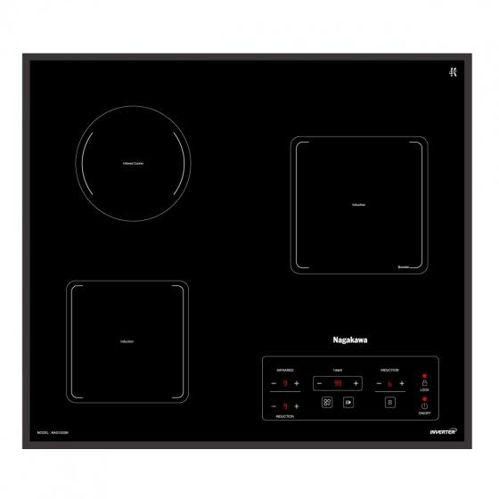 Bếp 3 lò điện từ hồng ngoại inverter Nagakawa NAG1253M -  bảo hành 5 năm - tặng bộ nồi inox 4 đáy