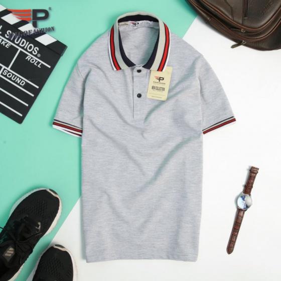 Áo thun nam cổ bẻ phối bo viền cao cấp pigo fashion aht06.1 chọn màu