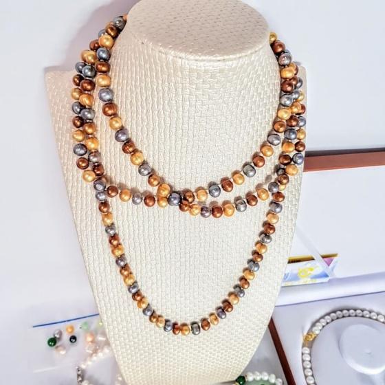 Vòng cổ Ngọc trai Thiên nhiên Cao cấp 2M - Chuỗi đơn dáng dài - MixColorPearl (8-10ly) - CTJ1103