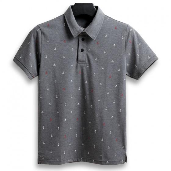 Áo thun nam cổ bẻ họa tiết mỏ neo cao cấp pigo fashion aht24.2 chọn màu