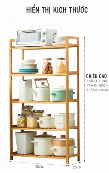 Kệ nhà bếp 5 tầng đa năng cao cấp dễ dàng thay đổi chiều cao các tầng