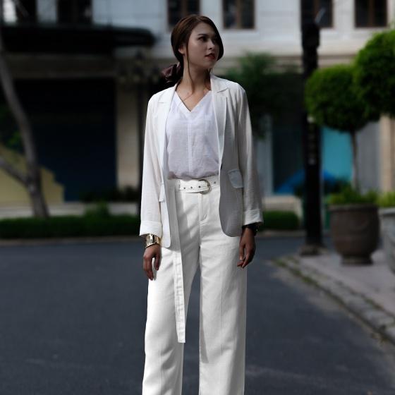 Áo khoác blazer Hity TOP125 linen (trắng kim cương)