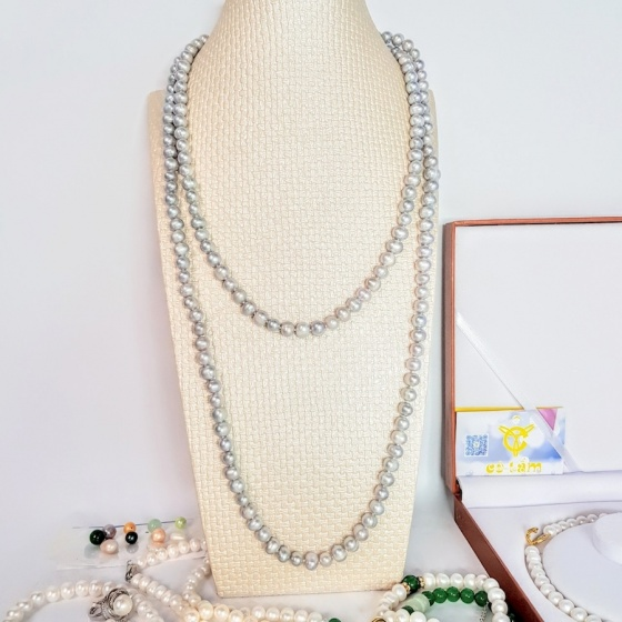 Vòng cổ Ngọc trai Cao cấp - Chuỗi đơn dáng dài - SvLongPearl (8-10ly) - CTJ0603 + Tặng kèm khóa tạo kiểu