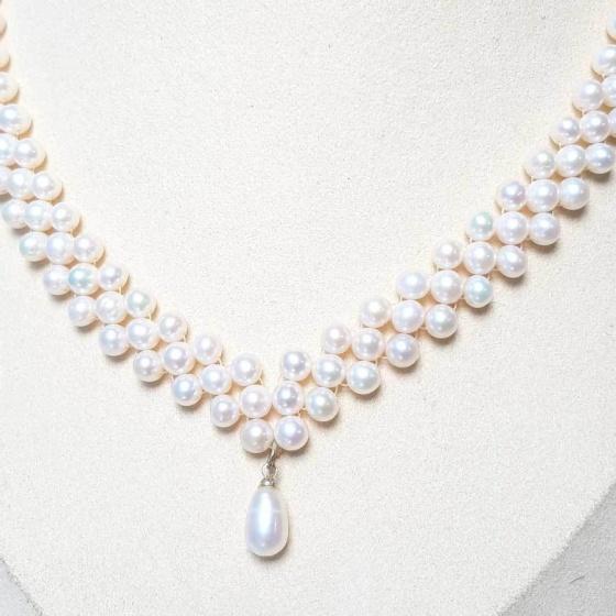 Vòng cổ Ngọc trai tự nhiên Cao cấp - Kết hạt tròn - JessePearl (6-7ly) - CTJ0310 + Tặng bông tai nụ