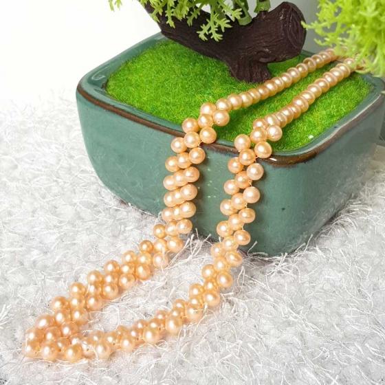 Vòng cổ Ngọc trai Thiên nhiên Cao cấp - Kết hạt tròn Quà tặng Bạn gái - OtisPearl (6-7ly) CTJ0410 + Tặng bông tai bạc