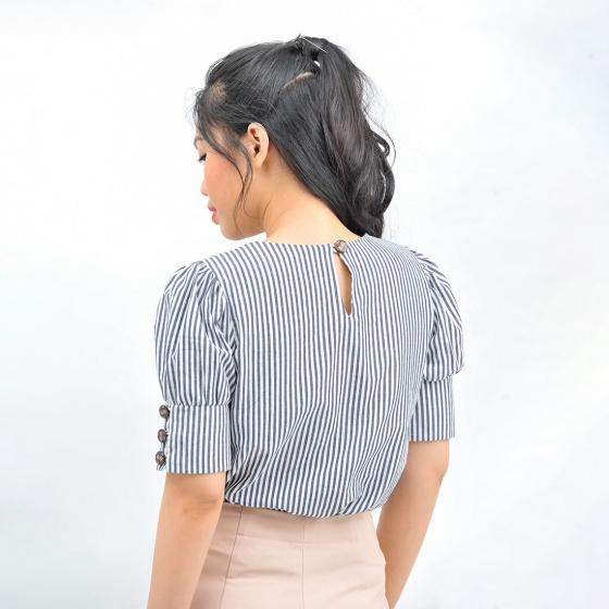 Áo kiểu nữ thời trang Eden dáng suông kẻ sọc - ASM120