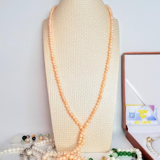 Vòng cổ Ngọc trai Cao cấp - Chuỗi đơn dáng dài - ColorPearl (7-9ly) - CTJ1204 + Tặng kèm khoá tạo kiểu