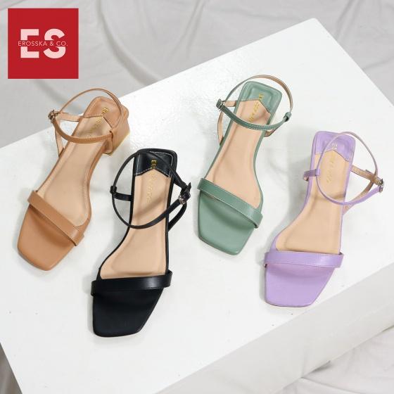 Giày sandal cao gót thời trang Erosska quai mảnh kiểu dáng Hàn Quốc phối màu pastel đế cao 5cm EB021
