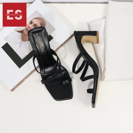 Dép cao gót thời trang Erosska phối dây quai mảnh kiểu dáng xỏ ngón cao 6cm EB023