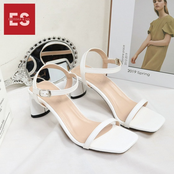 Giày sandal cao gót thời trang Erosska mũi vuông phối dây quai mảnh cao 5cm EB025