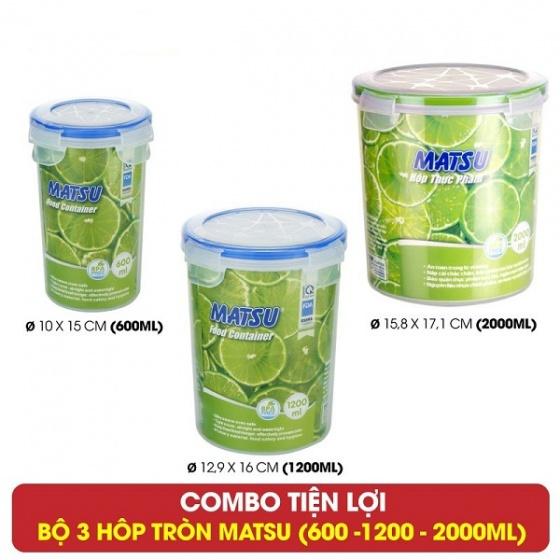 Bộ 3 hộp tròn đựng thực phẩm Duy Tân Matsu dung tích 600 - 1200 - 2000ml