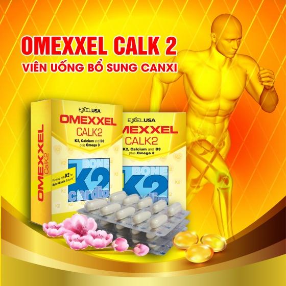 Combo 2 hộp viên uống bổ sung canxi Omexxel Calk2 60 viên - xuất xứ Mỹ