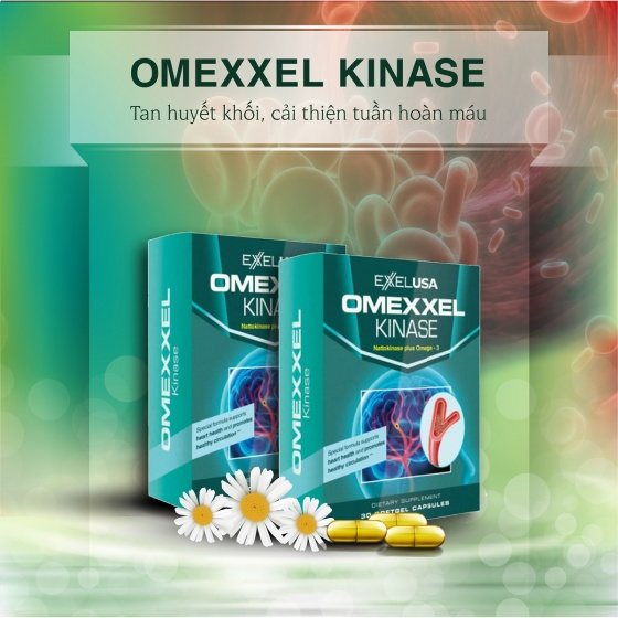 Combo 2 Hộp viên uống tan huyết khối, cải thiện tuần hoàn máu Omexxel Kinase - Xuất xứ Mỹ