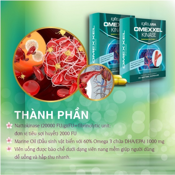 Viên uống tan huyết khối, cải thiện tuần hoàn máu Omexxel Kinase - Xuất xứ Mỹ