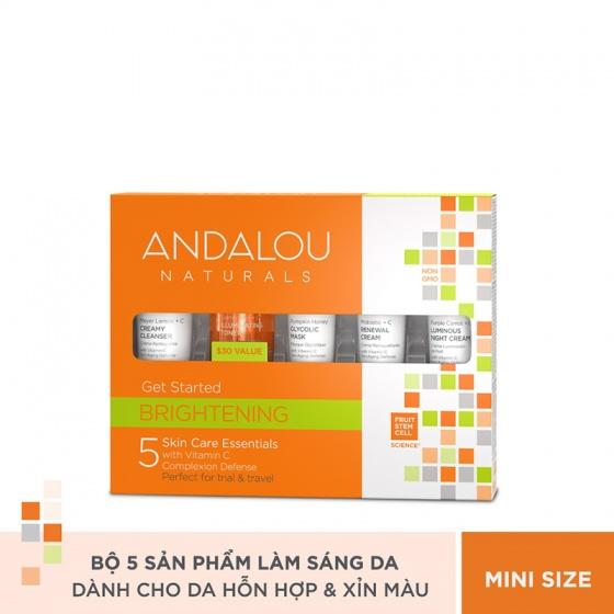 Bộ sản phẩm chăm sóc làm sáng da Mini Andalou Naturals Brightening Get Started Kit
