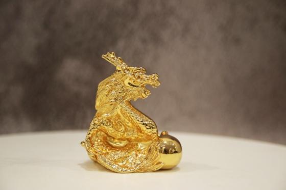 Tượng đồng linh vật Rồng phong thủy mạ vàng 24k