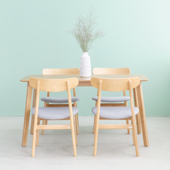 Bộ bàn ăn 4 ghế gỗ cao su MOHO OSLO 601