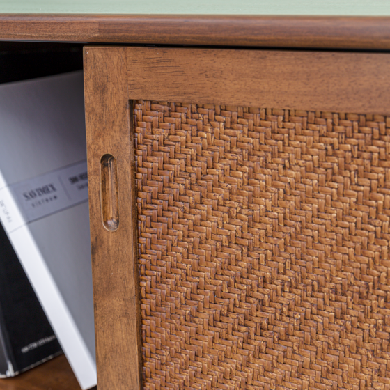 Tủ kệ tivi vân gỗ tràm MOHO VLINE 601 (màu nâu)