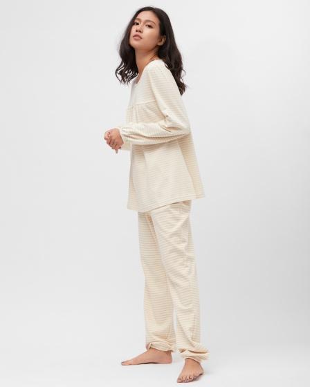 Bộ mặc nhà nữ bo chun kẻ nâu sợi bông hữu cơ - Mimi Organic