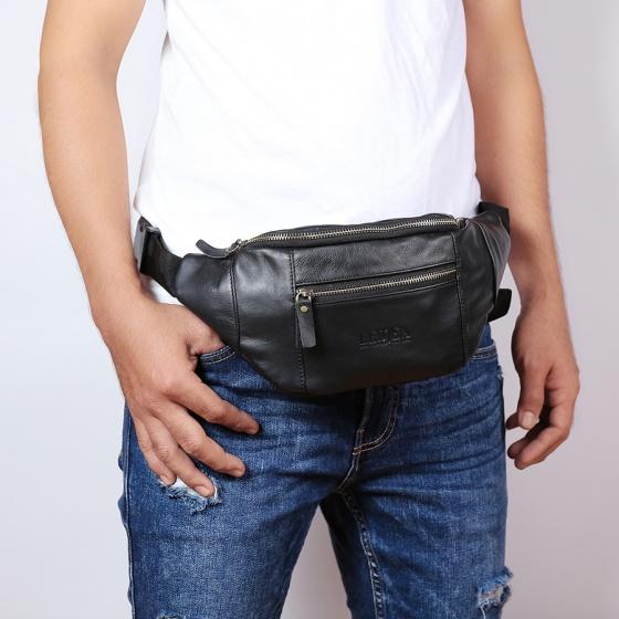 Túi đeo chéo bụng 4U da bò thật cao cấp thời trang DB285