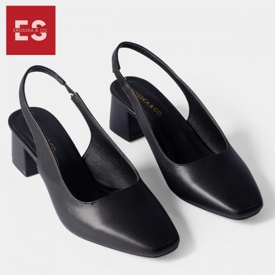 Giày cao gót Erosska thời trang mũi vuông gót hở phối dây quai mảnh kiểu dáng basic cao 5cm EL016