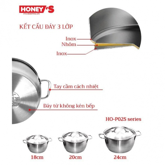 Nồi Inox 03 đáy Honey's HO-P02S31801 18cm