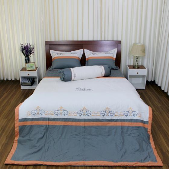 Bộ chăn drap gối cao cấp bọc màu thêu Vỏ Chăn 180x200cm Thắng Lợi - SE (Xám)