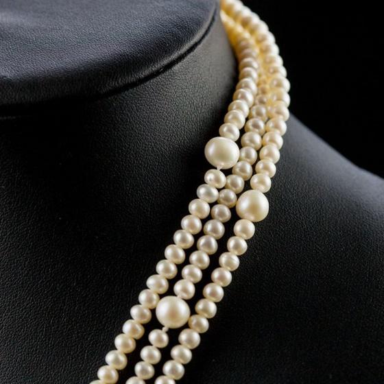 Vòng cổ Ngọc trai Thiên nhiên Cao cấp - Chuỗi đơn dáng dài - Kiểu quý cô ngọc trai - VanesPearl (5-9ly) - CTJ3410B